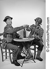 an English soldier and an American soldier drink a glass of...