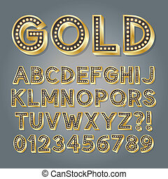 Golden 3D Broadway Alphabet and Numbers, Eps 10 Vector...