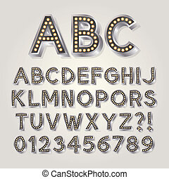 Silver 3D Broadway Alphabet and Numbers, Eps 10 Vector...