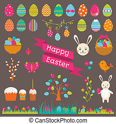 Set of Easter flat elements