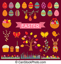Set of Easter flat elements.