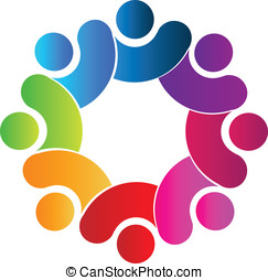 Teamwork connection logo - Teamwork union people 3d rainbow...