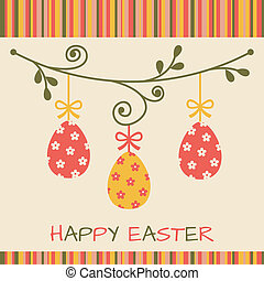 Easter card with eggs on pastel background.