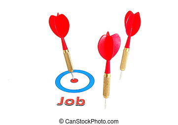 dart arrow job concept - employment or unemployment concept...