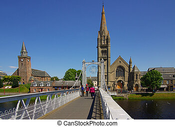 Bridge in Inverness, Scotland on a sunny summer day