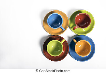 Set of colorful cups and saucers - Set of Fiesta Colored...