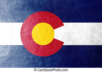 Colorado State Flag painted on leather texture