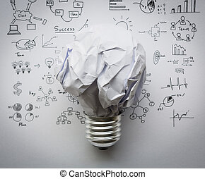 Crumpled paper Light bulb with drawing graph