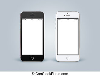 Directly front view of black and white smartphones with...