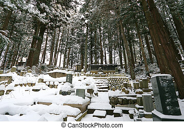 Beautiful Winter forest Japanese cemetery