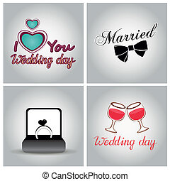 wedding - four grey backgrounds with different elements for...