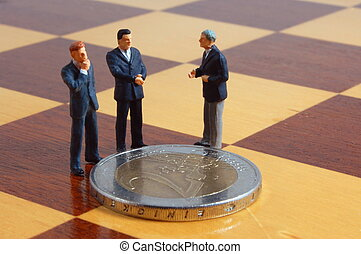 business people and money - mini business man and euro money...
