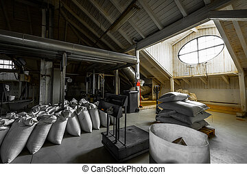 a brewery building's attic, granary, interior - a brewery...