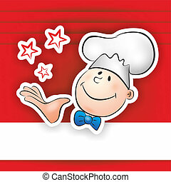chef - illustration of funny chef with toque presenting his...