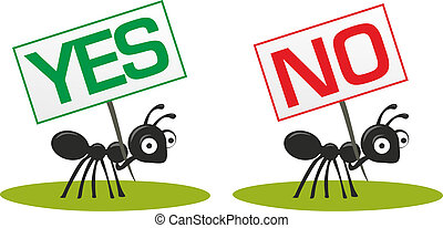 ants - illustrated ants carrying a sign for yes and no
