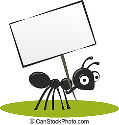 ants - illustrated ant with big eyes carrying a blank sign