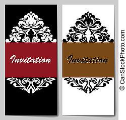 Set of white-black invitations