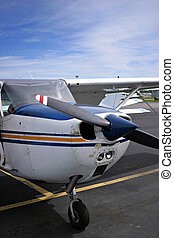 Small Plane - The front of a small private plane.