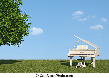 White grand piano on grass in a sunny day - rendering
