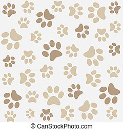 Animal pattern of paw footprint - Seamless animal pattern of...
