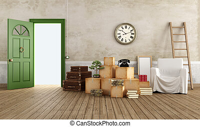 Moving from an old house - Vintage interior with cardboard...