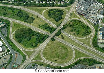 Clover Leaf - Highway clover leaf interchange.