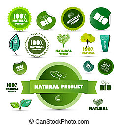 Natural Product Green Labels - Tags - Stickers Set Isolated...
