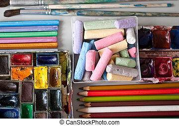 Items for drawing and art: crayons, watercolor paints,...