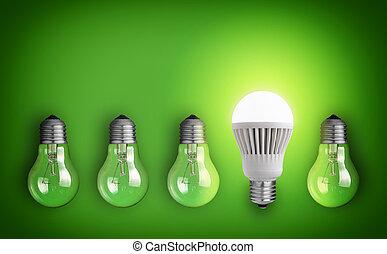 new technology - Idea concept with row of light bulbs