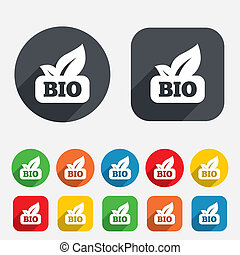 Bio product sign icon Leaf symbol Circles and rounded...