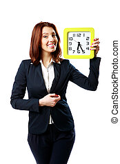 Happy businesswoman holding wall clock isolated on white...