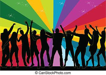 Club, fiesta, gente, bailando