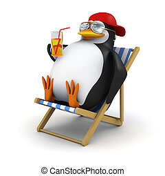 3d Penguin relaxes in deckchair - 3d render of a penguin in...