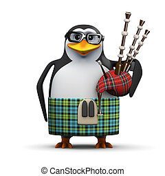 3d Scottish penguin with bagpipes - 3d render of a penguin...