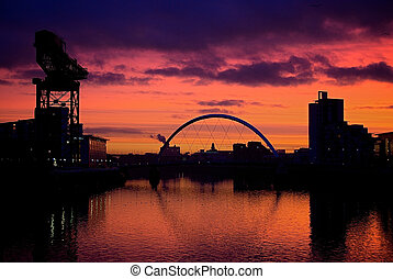Sunset River Clyde Glasgow Scotland - Sunset over the Clyde...