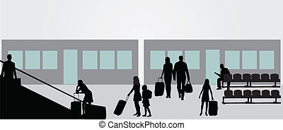 odlatujemy - A businessman looking out a departure lounge...