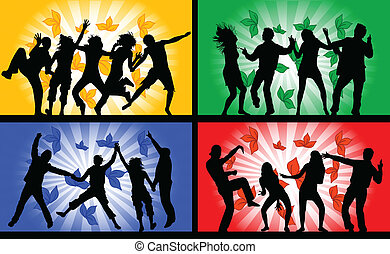 Dancing people, illustrations in four colors