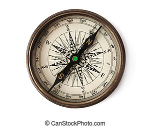 compass - isolated on white bacground, selective focus on S