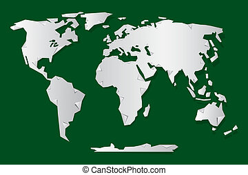 Vector Paper World Map Illustration on Green Background