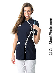 Pretty nurse , fashionable work clothes