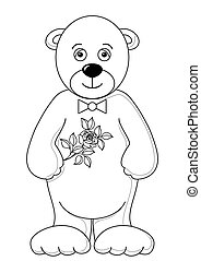 Teddy bear with flower, contours