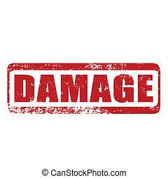 damage grunge stamp whit on vector illustration
