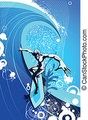 Surfer riding a big Wave - easy to edit vector illustration...