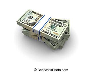 Twenty Dollar bills stack illustration on white background