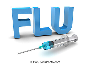 Flu Shot - Word Flu with injection illustration isolated on...