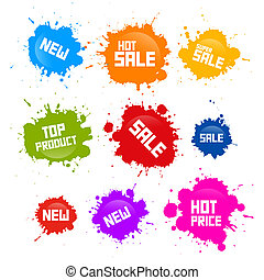 Vector Colorful Sale Blots Icons Isolated on White...