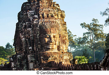 Bayon - Stone face at Bayon Temple at Angkor Wat,Cambodia