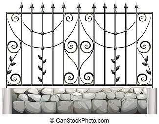 A steel fence - Illustration of a steel fence on a white...
