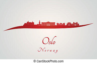 Oslo skyline in red and gray background in editable vector...