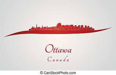 Ottawa skyline in red and gray background in editable vector...